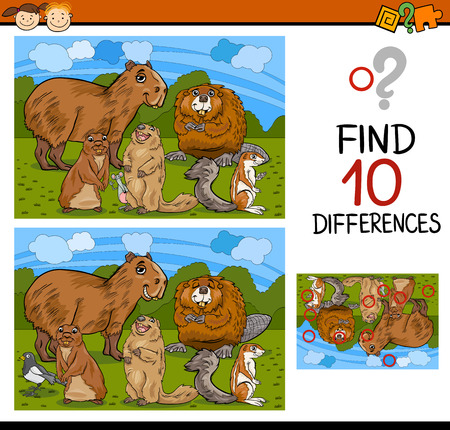 teaser: Cartoon Illustration of Finding Differences Educational Game for Preschool Children