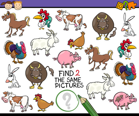 same: Cartoon Illustration of Finding the Same Picture Educational Game for Preschool Children