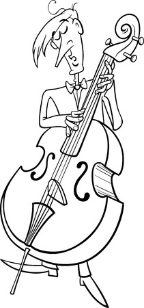 virtuoso: Black and White Cartoon Illustration of Musician Playing the Contrabass Instrument for Coloring Book Illustration