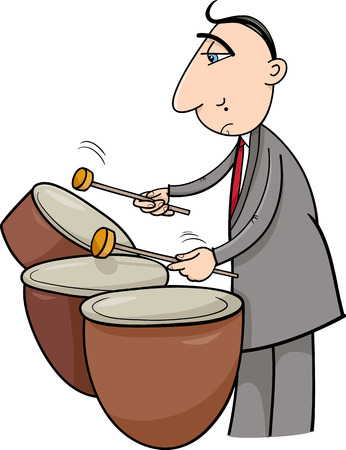 virtuoso: Cartoon Illustration of Musician Playing the Timpani Drums Percussion Instrument