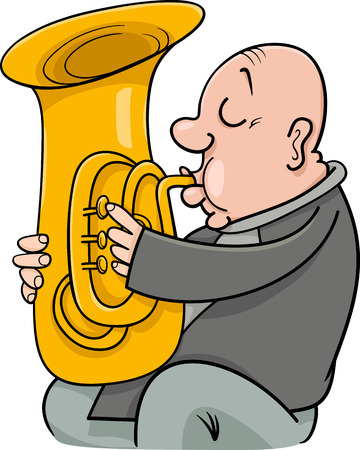 Cartoon Illustration of Trumpeter Musician Playing the Tuba Wind Instrument Ilustração