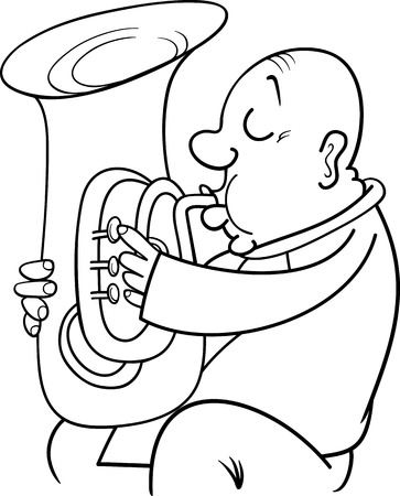 virtuoso: Black and White Cartoon Illustration of Trumpeter Musician Playing the Tuba Wind Instrument for Coloring Book