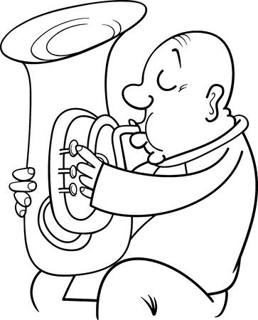 blaasinstrument: Zwart-wit Cartoon Illustratie van de Trompetter Musicus spelen van de Tuba Wind instrument voor Coloring Book
