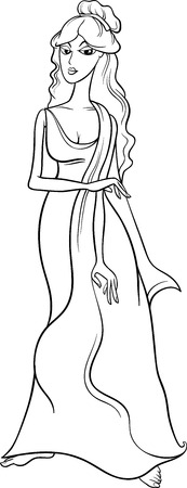 Black and White Cartoon Illustration of Mythological Greek Goddess Aphrodite for Coloring Book Vettoriali