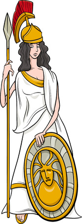 roman mythology: Cartoon Illustration of Mythological Greek Goddess Athena Illustration