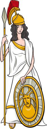 athena: Cartoon Illustration of Mythological Greek Goddess Athena Illustration
