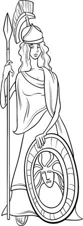 Zwart-wit Cartoon Illustratie van mythologische Griekse godin Athena voor Coloring Book