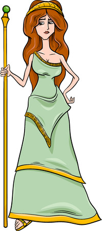the romans: Cartoon Illustration of Mythological Greek Goddess Hera
