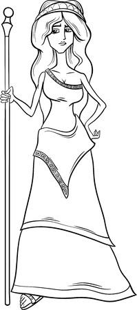 ぬり絵の本のためのギリシャ神話の女神ヘラの黒と白の漫画イラスト  イラスト・ベクター素材