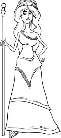 Black and White Cartoon Illustration of Mythological Greek Goddess Hera for Coloring Book Çizim