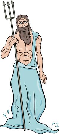 Cartoon Illustration of Mythological Greek God Poseidon