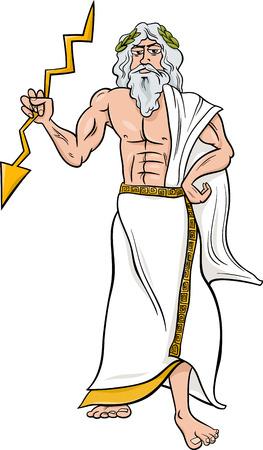 Cartoon Illustration of Mythological Greek God Zeus