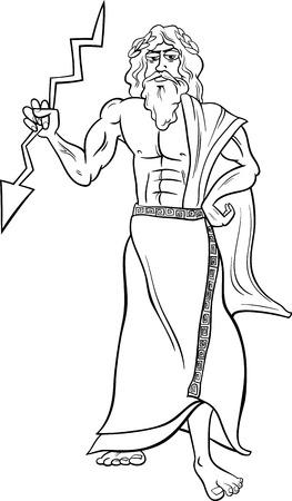 ぬり絵の本のためのギリシャの神話の神ゼウスの黒と白の漫画イラスト