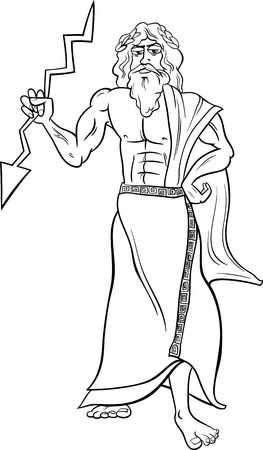Black and White Cartoon Illustration of Mythological Greek God Zeus for Coloring Book