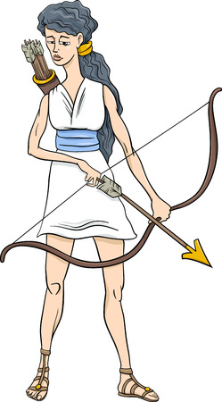 Cartoon Illustration of Mythological Greek Goddess Artemis