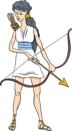 Cartoon Illustration of Mythological Greek Goddess Artemis