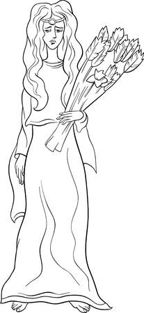 diosa griega: Historieta blanco y negro Ilustración de mitológico griego de la diosa Deméter para Coloring Book