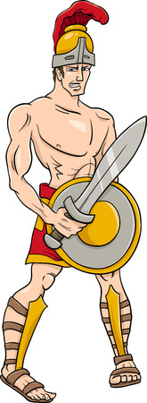 greek god: Cartoon Illustration of Mythological Greek God Ares