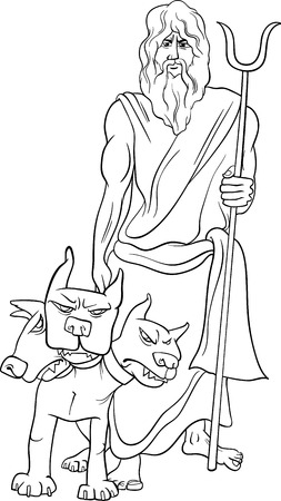 hades: Black and White Cartoon Illustration of Mythological Greek God Hades for Coloring Book