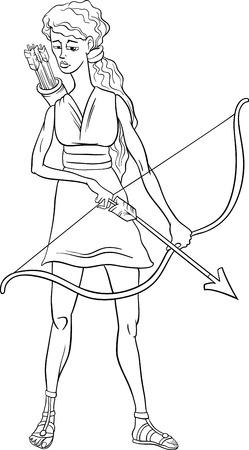 塗り絵のギリシャ神話の女神アルテミスの黒と白の漫画イラスト
