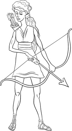Black and White Cartoon Illustration of Mythological Greek Goddess Artemis for Coloring Book