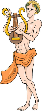 lyre: Cartoon Illustration of Mythological Greek God Apollo Illustration