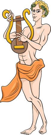 Cartoon Illustration of Mythological Greek God Apollo Illustration