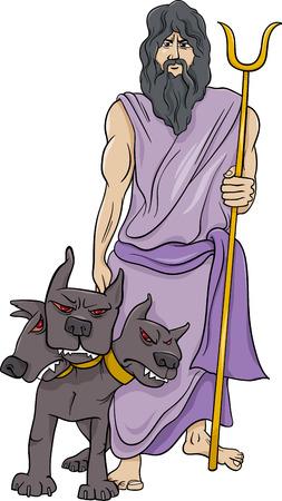 greek god: Cartoon Illustration of Mythological Greek God Hades