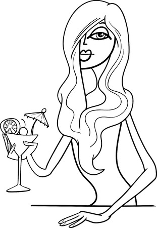 black woman: Black and White Cartoon Illustration of Beautiful Sexy Woman in Red Dress with Drink in the Bar Illustration