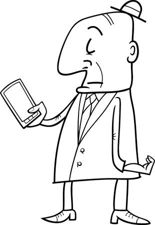 elder: Black and White Cartoon Illustration of Elder Man with Smart Phone for Coloring Book