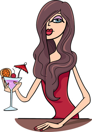 sexual cartoon: Cartoon Illustration of Beautiful Sexy Woman in Red Dress with Drink in the Bar