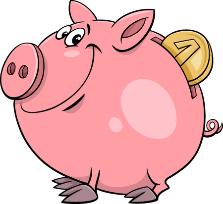 Cartoon Illustration of Cute Piggy Bank with Gold Coin