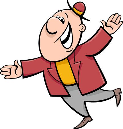 baile caricatura: Ejemplo de la historieta de Funny Hombre Feliz personaje
