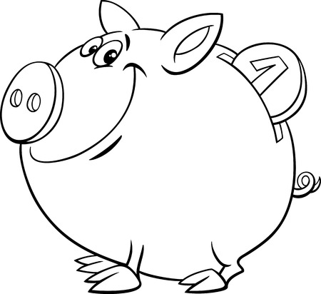 bank book: Black and White Cartoon Illustration of Cute Piggy Bank with Gold Coin for Coloring Book