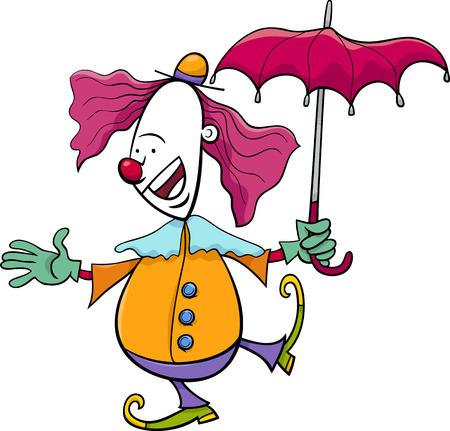 clown nose: Cartoon Illustration of Funny Clown Circus Performer with Umbrella Illustration