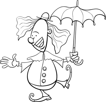 circus performer: Black and White Cartoon Illustration of Funny Clown Circus Performer with Umbrella for Coloring Book Illustration