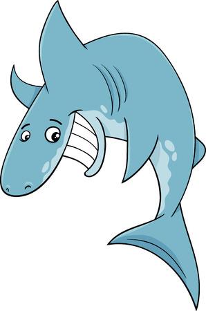 fish animal: Cartoon Illustration of Funny Shark Fish Animal