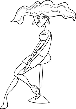 pretty young girl: Black and White Cartoon Illustration of Pretty Young Girl or Woman Illustration