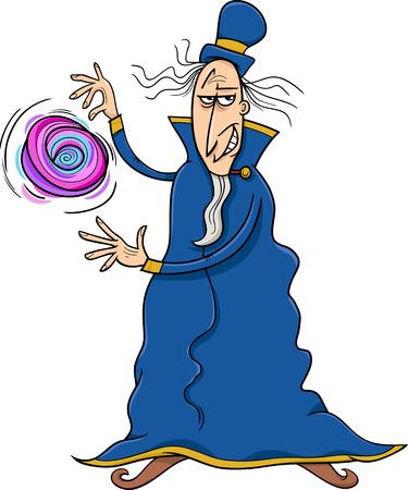 sneer: Cartoon illustration of Fantasy Evil Wizard or Sorcerer Casting a Spell