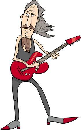 caricaturas de personas: Ilustración de dibujos animados de la vieja roca Hombre Músico con la guitarra eléctrica