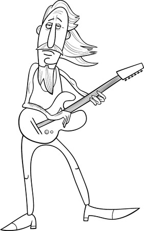soloist: Black and White Cartoon Illustration of Old Rock Man Musician with Electric Guitar