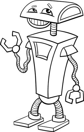 science fiction: Zwart-wit Cartoon illustratie van grappige Robot Science Fiction Karakter voor Coloring Book
