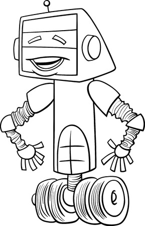 funny robot: Black and White Cartoon Illustration of Funny Robot Science Fiction Character for Coloring Book