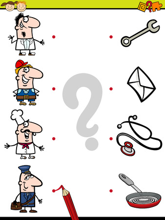 Cartoon Illustration of Education Element Matching Game for Preschool Children with People Occupations