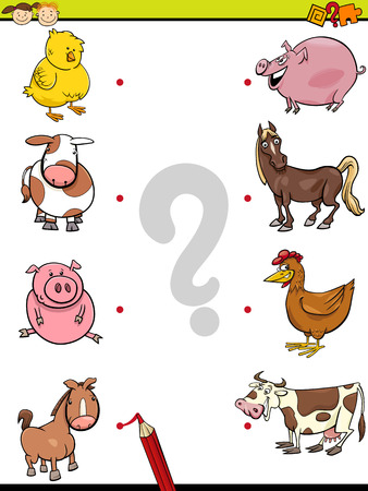 kindergarten: Cartoon Illustration of Education Element Matching Game for Preschool Children with Baby Animals and their Mothers Illustration