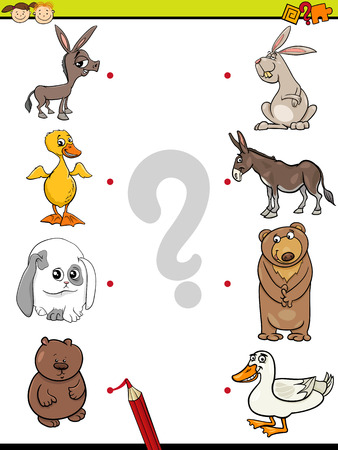 preliminary: Cartoon Illustration of Education Element Matching Game for Preschool Children with Baby Animals and their Mothers Illustration