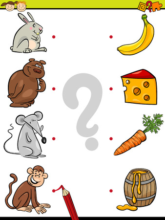 Cartoon Illustration of Education Element Matching Game for Preschool Children with Animals and their Favorite Food Vettoriali
