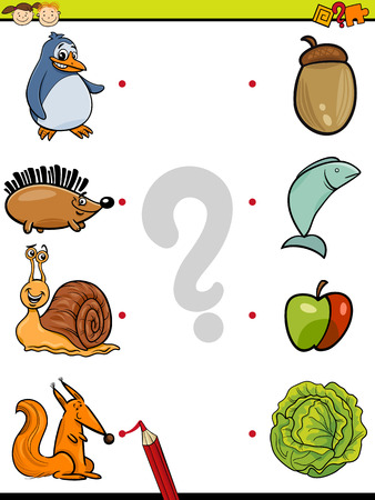 Cartoon Illustration of Education Element Matching Game for Preschool Children with Animals and their Favorite Food 向量圖像