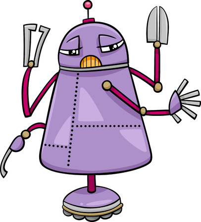 funny robot: Cartoon Illustration of Funny Robot Science Fiction Character