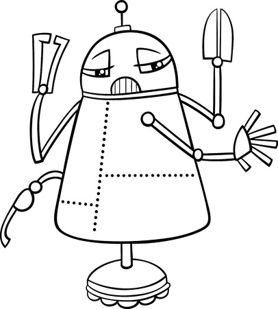 science fiction: Black and White Cartoon Illustration of Funny Robot Science Fiction Character for Coloring Book